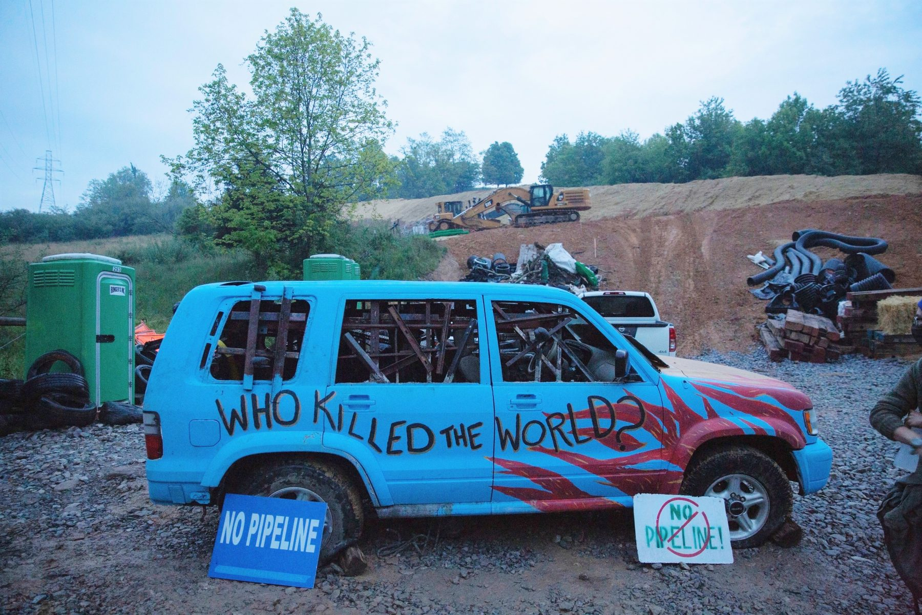 Mountain Valley Pipeline protester blockades access to work site
